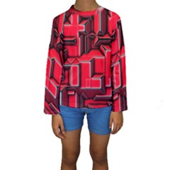 Background With Red Texture Blocks Kids  Long Sleeve Swimwear