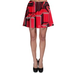 Background With Red Texture Blocks Skater Skirt