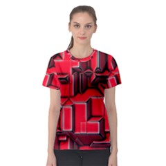Background With Red Texture Blocks Women s Sport Mesh Tee