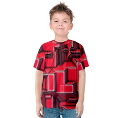 Background With Red Texture Blocks Kids  Cotton Tee