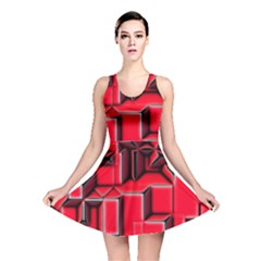 Background With Red Texture Blocks Reversible Skater Dress