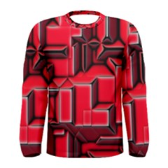 Background With Red Texture Blocks Men s Long Sleeve Tee