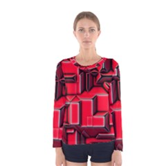 Background With Red Texture Blocks Women s Long Sleeve Tee