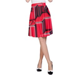 Background With Red Texture Blocks A Line Skirt