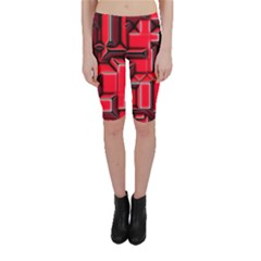 Background With Red Texture Blocks Cropped Leggings