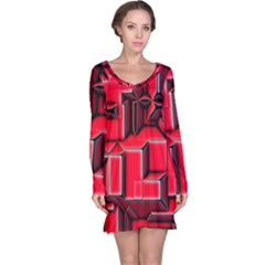 Background With Red Texture Blocks Long Sleeve Nightdress