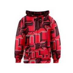 Background With Red Texture Blocks Kids  Zipper Hoodie