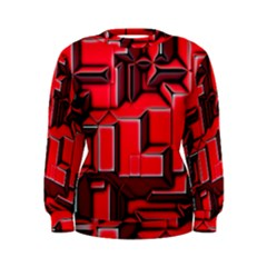Background With Red Texture Blocks Women s Sweatshirt