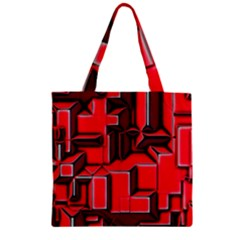 Background With Red Texture Blocks Zipper Grocery Tote Bag