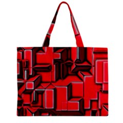 Background With Red Texture Blocks Zipper Mini Tote Bag