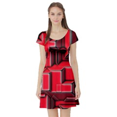 Background With Red Texture Blocks Short Sleeve Skater Dress