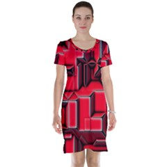Background With Red Texture Blocks Short Sleeve Nightdress