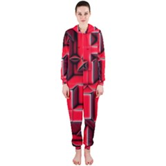 Background With Red Texture Blocks Hooded Jumpsuit (ladies)