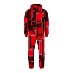 Background With Red Texture Blocks Hooded Jumpsuit (kids)