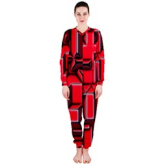 Background With Red Texture Blocks Onepiece Jumpsuit (ladies)