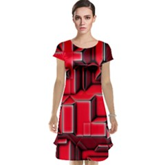 Background With Red Texture Blocks Cap Sleeve Nightdress