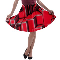 Background With Red Texture Blocks A Line Skater Skirt