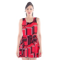 Background With Red Texture Blocks Scoop Neck Skater Dress
