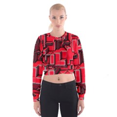 Background With Red Texture Blocks Women s Cropped Sweatshirt
