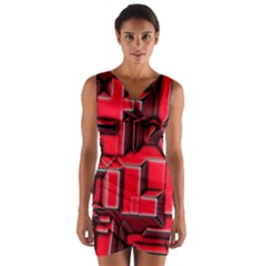 Background With Red Texture Blocks Wrap Front Bodycon Dress