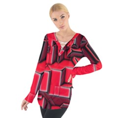 Background With Red Texture Blocks Women s Tie Up Tee