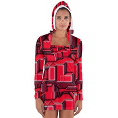 Background With Red Texture Blocks Women s Long Sleeve Hooded T Shirt