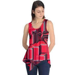 Background With Red Texture Blocks Sleeveless Tunic