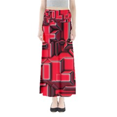 Background With Red Texture Blocks Maxi Skirts