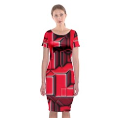 Background With Red Texture Blocks Classic Short Sleeve Midi Dress