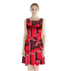 Background With Red Texture Blocks Sleeveless Chiffon Waist Tie Dress