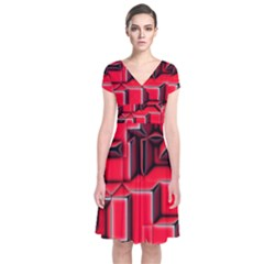 Background With Red Texture Blocks Short Sleeve Front Wrap Dress