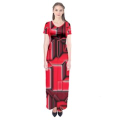 Background With Red Texture Blocks Short Sleeve Maxi Dress