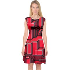 Background With Red Texture Blocks Capsleeve Midi Dress