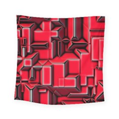 Background With Red Texture Blocks Square Tapestry (small)