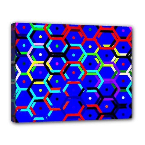 Blue Bee Hive Pattern Canvas 14  X 11