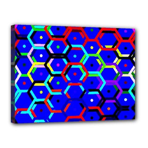 Blue Bee Hive Pattern Canvas 16  X 12