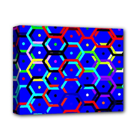 Blue Bee Hive Pattern Deluxe Canvas 14  X 11