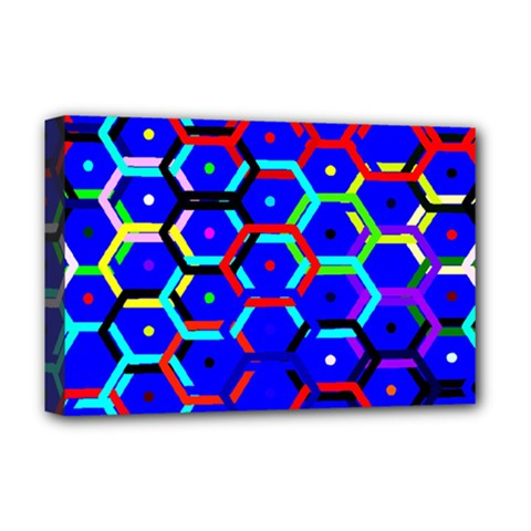 Blue Bee Hive Pattern Deluxe Canvas 18  X 12