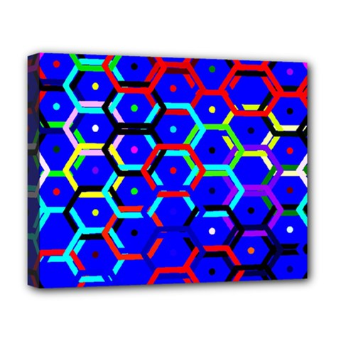 Blue Bee Hive Pattern Deluxe Canvas 20  X 16