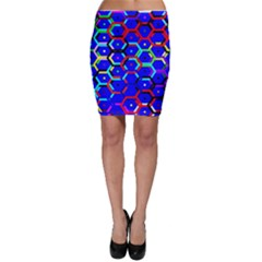 Blue Bee Hive Pattern Bodycon Skirt