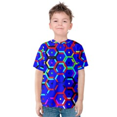 Blue Bee Hive Pattern Kids  Cotton Tee