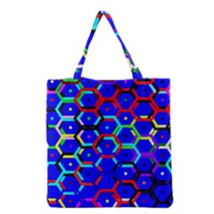 Blue Bee Hive Pattern Grocery Tote Bag