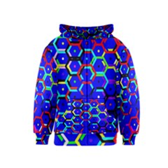 Blue Bee Hive Pattern Kids  Zipper Hoodie