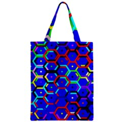 Blue Bee Hive Pattern Zipper Classic Tote Bag