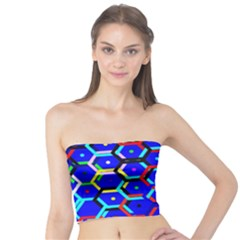 Blue Bee Hive Pattern Tube Top