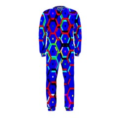 Blue Bee Hive Pattern Onepiece Jumpsuit (kids)