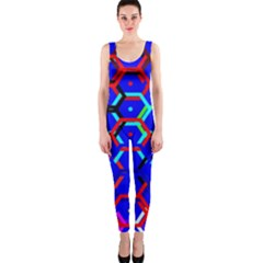 Blue Bee Hive Pattern OnePiece Catsuit