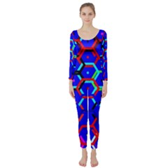 Blue Bee Hive Pattern Long Sleeve Catsuit