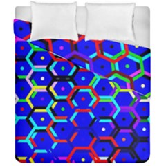 Blue Bee Hive Pattern Duvet Cover Double Side (california King Size)
