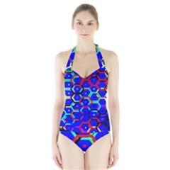 Blue Bee Hive Pattern Halter Swimsuit